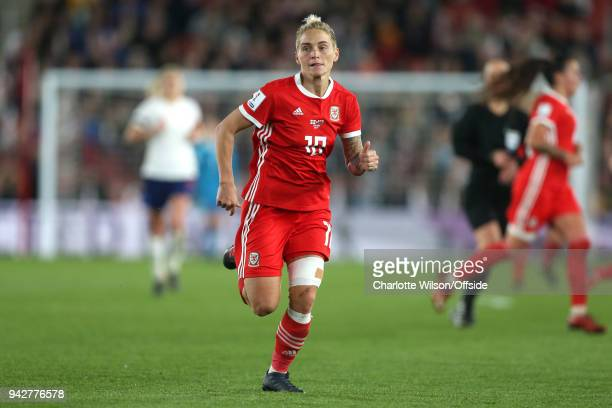 Jessica Fishlock of Wales during the Womens World Cup Qualifier between England and Wales Women at St Mary's Stadium on April 6 2018 in Southampton...