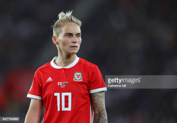 Jessica Fishlock of Wales during the Women's World Cup Qualifier between England and Wales at St Mary's Stadium on April 6 2018 in Southampton England