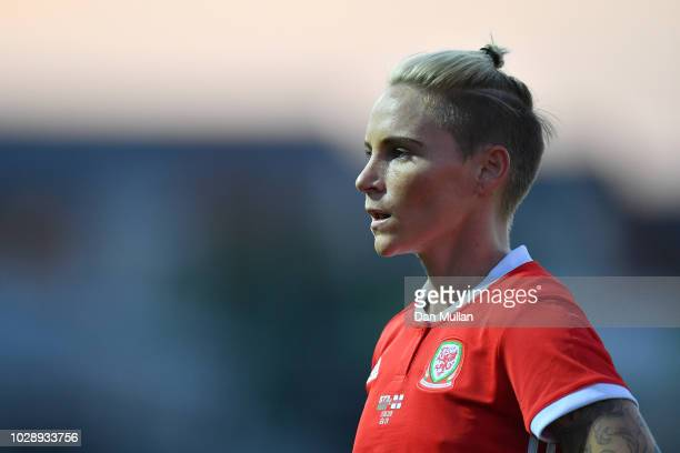 Jessica Fishlock of Wales in action during the Women's World Cup qualifier between Wales Women and England Women at Rodney Parade on August 31 2018...