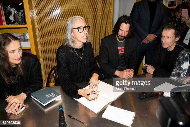 Jessica Fleischmann Alexandra Grant actor Keanu Reeves and Benoit Fougeirol attend the 'X Artists' books launch at Palais De Tokyo on November 10...