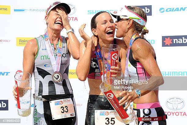 Jessica Fleming of Australia Radka Vodickova of the Czech Republic and Belinda Granger of Australia celebrate after finishing second first and third...