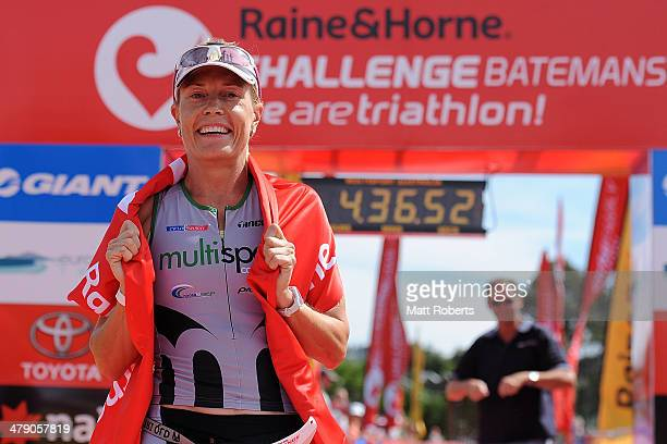 Jessica Fleming of Australia smiles after crossing the finish line in second place during the Batemans Bay leg of Challenge Australia on March 16...