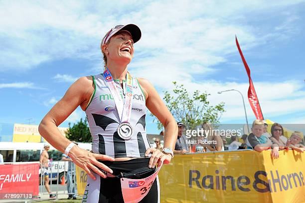 Jessica Fleming of Australia smiles after finishing second during the Batemans Bay leg of Challenge Australia on March 16 2014 in Ulladulla Australia