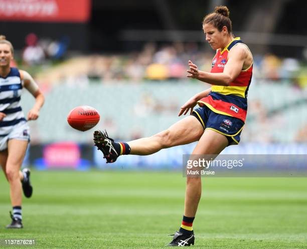 Jessica Foley of the Adelaide Crows during the AFLW Preliminary Final match between the Adelaide Crows and thew Geelong Cats at Adelaide Oval on...