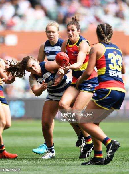 Jessica Foley of the Adelaide Crows handballs under pressure during the AFLW Preliminary Final match between the Adelaide Crows and thew Geelong Cats...