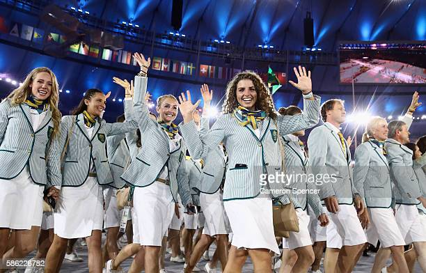 Jessica Fox and other members of the Australia team take part in the Opening Ceremony of the Rio 2016 Olympic Games at Maracana Stadium on August 5,...
