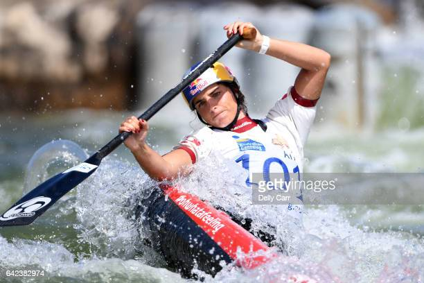 Jessica Fox competes during the 2017 Australian Open Canoe Slalom at Penrith Whitewater Stadium on February 17 2017 in Sydney Australia