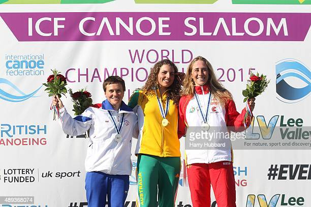 Jessica Fox of Australia 1st Place Katerina Hoskova of Czech Republic 2nd Place and Nuria Vilarrubla of Spain 3rd Place Womens Final Canoe at Lee...