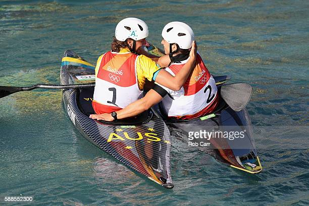 Jessica Fox of Australia and Maialen Chourraut of Spain congratulate each other after the Women's Kayak Final on Day 6 of the Rio 2016 Olympics at...
