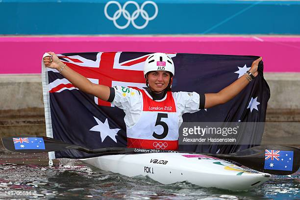 Jessica Fox of Australia celebrates after the Women's Kayak Single Slalom on Day 6 of the London 2012 Olympic Games at Lee Valley White Water Centre...