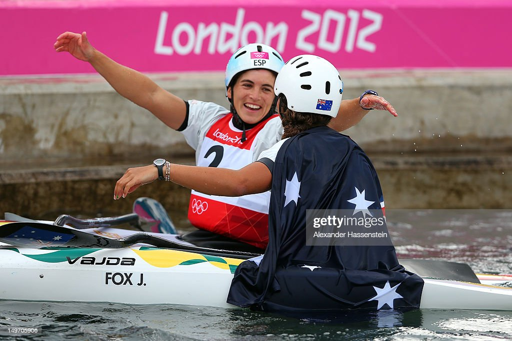 Jessica Fox (front) of Australia celebrates with Maialen Chourraut of Spain after the Women's Kayak Single (K1) Slalom on Day 6 of the London 2012 Olympic Games at Lee Valley White Water Centre on August 2, 2012 in London, England.