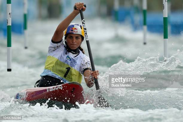 Jessica Fox of Australia competes during the C1Women's Semifinals as part of 2018 ICF Canoe Slalom World Championships at Whitewater Stadium on...