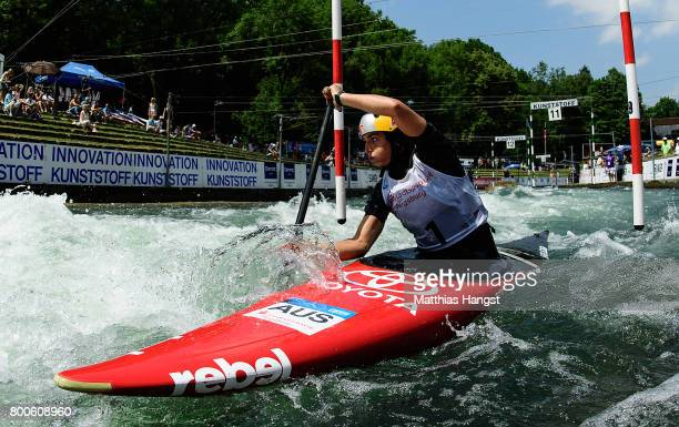 Jessica Fox of Australia competes during the Canoe Single Women's Final of the ICF Canoe Slalom World Cup on June 24 2017 in Augsburg Germany