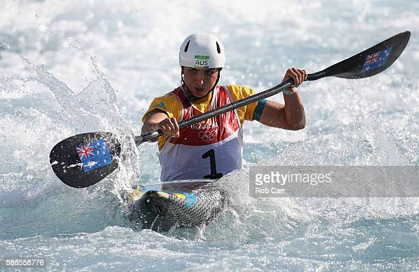 Jessica Fox of Australia competes during the Women's Kayak Final on Day 6 of the Rio 2016 Olympics at Whitewater Stadium on August 11 2016 in Rio de...