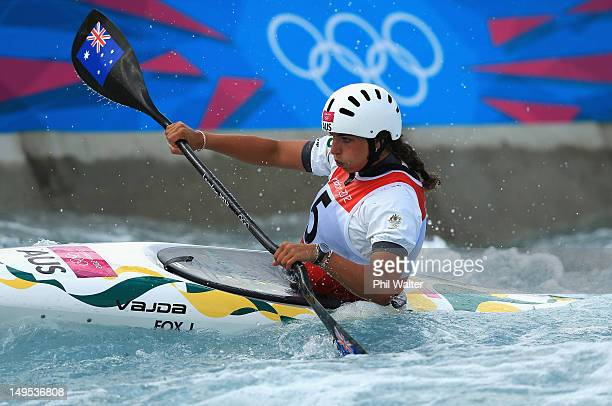 Jessica Fox of Australia competes during the Womens Kayak Single Slalom heats on Day 3 of the London 2012 Olympic Games at Lee Valley White Water...