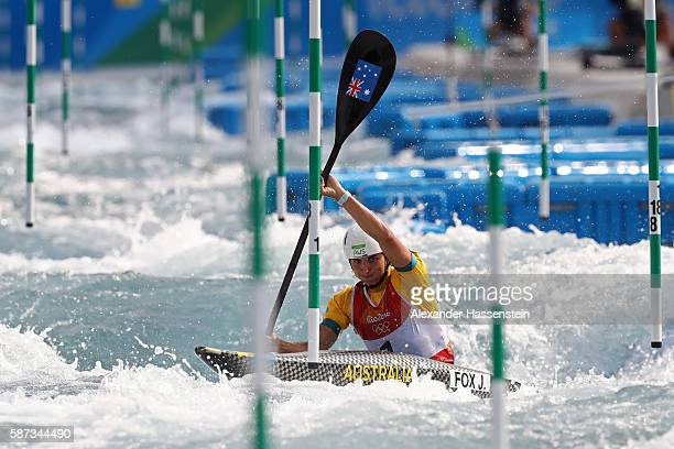 Jessica Fox of Australia competes during the Women's Kayak Slalom heats on Day 3 of the Rio 2016 Olympic Games at the Whitewater Stadium on August 8...