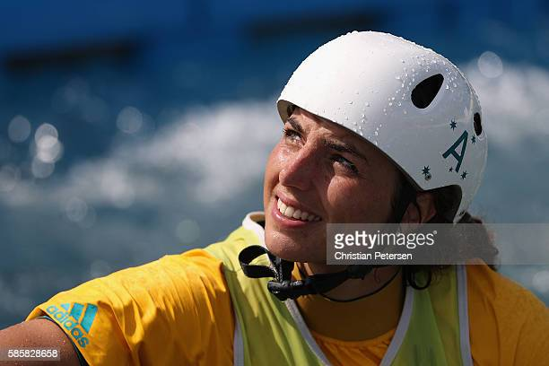 Jessica Fox of Australia competes in Kayak Women during a practice session ahead of the 2016 Summer Olympic Games at the Whitewater Stadium on August...