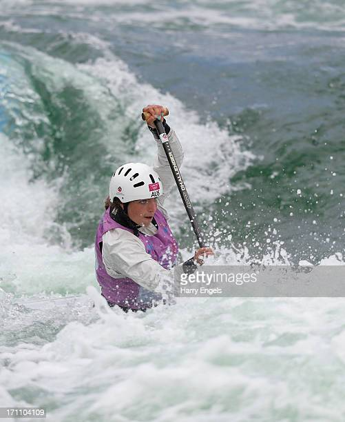 Jessica Fox of Australia competes in the Women's C1 Final during the Canoe Slalom World Cup at Cardiff Bay on June 22 2013 in Cardiff Wales