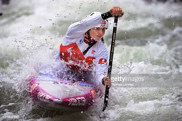 Jessica Fox of Australia competes in the Women´s C1 Final Heat during the Canoe Slalom World Cup at Augsburgs 'Eiskanal' on June 29 2013 in Augsburg...
