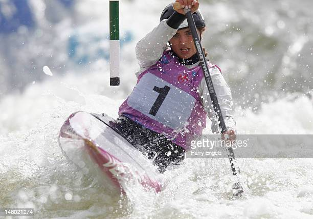 Jessica Fox of Australia competes in the Women's C1 semi final during the ICF Canoe Slalom World Cup at Cardiff International White Water on June 9...