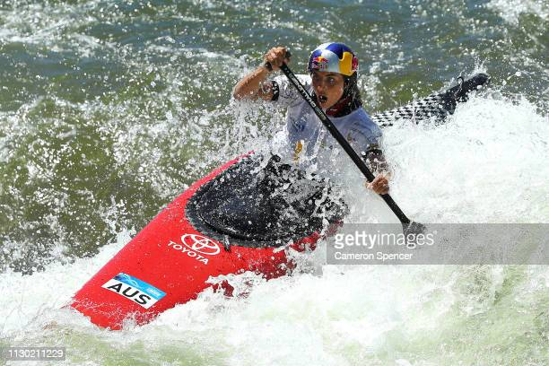 Jessica Fox of Australia competes in the Women's Canoe Single final during the 2019 Australian Canoe Slalom Open on February 17 2019 at Penrith...