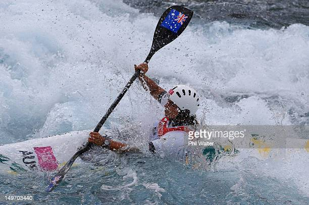 Jessica Fox of Australia competes in the Women's Kayak Single Slalom on Day 6 of the London 2012 Olympic Games at Lee Valley White Water Centre on...