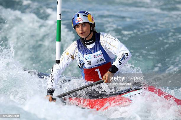 Jessica Fox of Australia in action during the Womens Final Canoe at Lee Valley White Water Centre at Lee Valley White Water Centre on September 20...