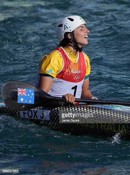 Jessica Fox of Australia reacts after crossing the finish line during the Women's Kayak Final on Day 6 of the Rio 2016 Olympics at Whitewater Stadium...