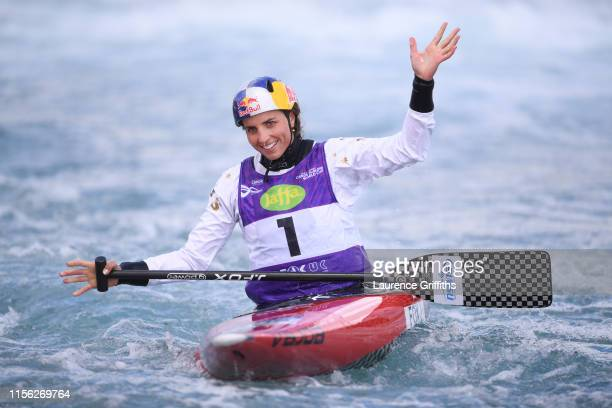 Jessica Fox of Australia reacts on the finish line in the Final of the Womens C1 during Day Three of the 2019 ICF Canoe Slalom World Cup at Lee...