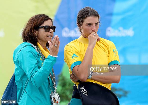 Jessica Fox of Australia speaks to her mother and coach Myriam Fox prior to a training session at the Olympic Whitewater Stadium on August 3 2016 in...