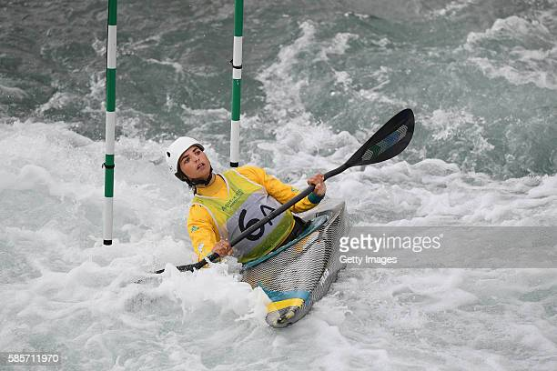 Jessica Fox of Australia trains in the K2 during a Canoe Slalom training session at Whitewater Stadium on August 3 2016 in Rio de Janeiro Brazil