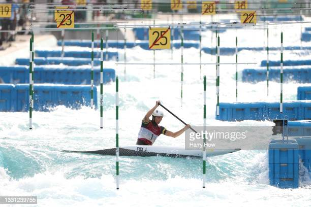 Jessica Fox of Team Australia competes during the Women's Canoe Slalom Final on day six of the Tokyo 2020 Olympic Games at Kasai Canoe Slalom Centre...