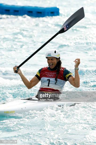 Jessica Fox of Team Australia reacts after her run in the Women's Canoe Slalom final on day six of the Tokyo 2020 Olympic Games at Kasai Canoe Slalom...
