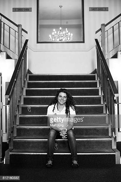 Jessica Fox poses during the Australian Rio 2016 Olympic Games canoe slalom team announcement at Novotel Sydney on February 25 2016 in Sydney...
