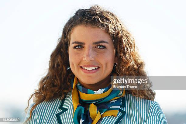 Jessica Fox poses in her Australian opening ceremony uniform during Sportscraft's opening ceremony and formal uniform launch on March 30 2016 in...