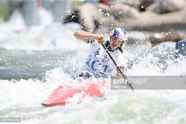 Jessica Fox wins Womens K1 during the 2017 Australian Open Canoe Slalom at Penrith Whitewater Stadium on February 18 2017 in Sydney Australia