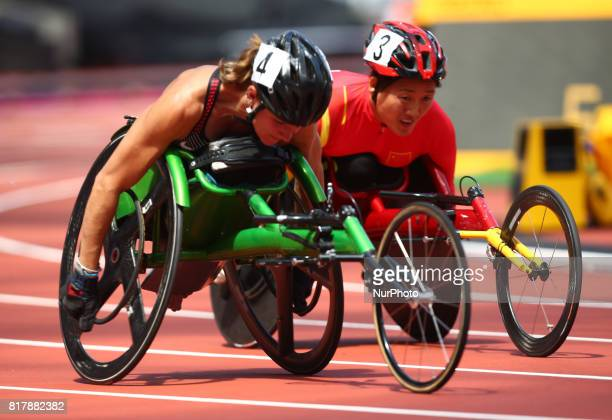 LR Jessica Frotten of Canada and Hongzhuan Zhou of China Women's 400M T53 Round 1 Heat 2 during IPC World Para Athletics Championships at London...