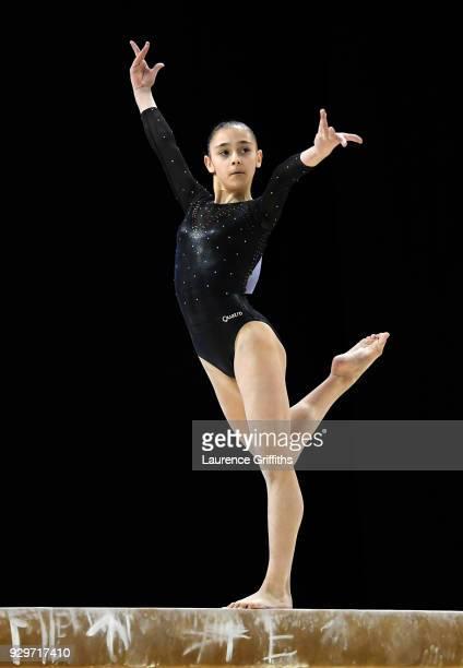 Jessica Gadirova of Aylesbury Gymnastics performs on the beam during The Women's Junior AllAround Subdivision 1 Round during the Gymnastics British...