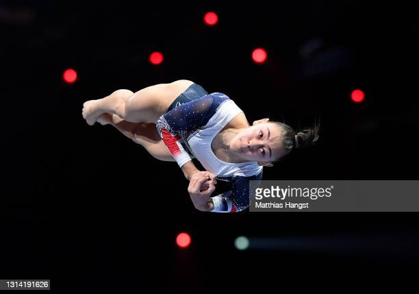 Jessica Gadirova of Great Britain competes on Vault during the Apparatus Finals of the European Artistic Gymnastics Championships at St. Jakobshalle...