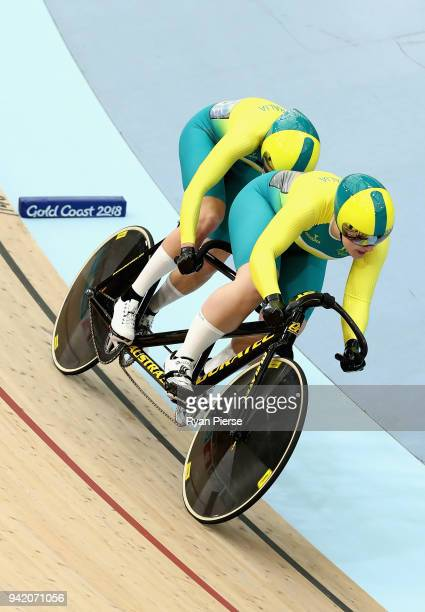 Jessica Gallagher of Australia and pilot Madison Janssen compete during Women's BVI Sprint Qualifying on day one of the Gold Coast 2018 Commonwealth...