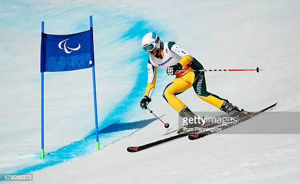 Jessica Gallagher of Australia competes in the Women's Giant Slalom Visually Impaired during day nine of the Sochi 2014 Paralympic Winter Games at...
