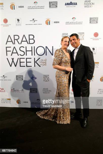 Jessica Garnetti and Bruno Caruso Privee attend the Arab Fashion Week Ready Couture Resort 2018 Gala Dinner on May 202017 at Armani Hotel in Dubai...