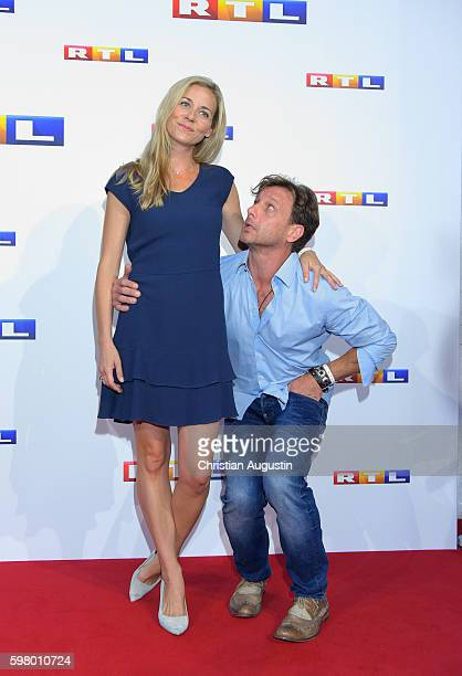 Jessica Ginkel and Hendrik Duryn attend photocall of RTL Program 2016/17 presentation at the REE Location on August 30 2016 in Hamburg Germany