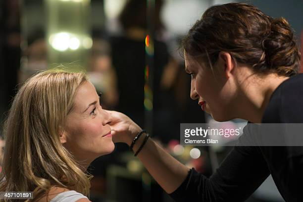 Jessica Ginkel is getting make up during a shoot for AMREF in Salon Shan Rahimkhan on December 16 2013 in Berlin Germany Jessica Ginkel