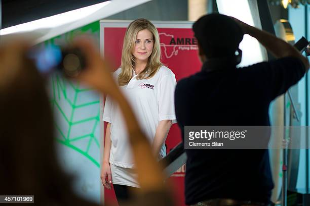 Jessica Ginkel poses during a shoot for AMREF in Salon Shan Rahimkhan on December 16 2013 in Berlin Germany