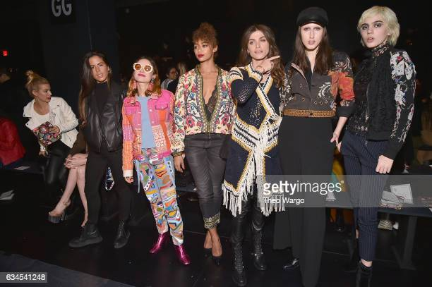 Jessica Goicoechea Miranda Makaroff Berta Vazquez Anna Cleveland and Julia Cumming attend the Desigual fashion show during New York Fashion Week at...
