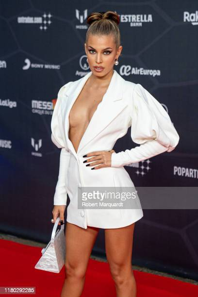 Jessica Goicoechea poses on the red carpet for the premiere of Messi10 by Cirque Du Soleil on October 10 2019 in Barcelona Spain
