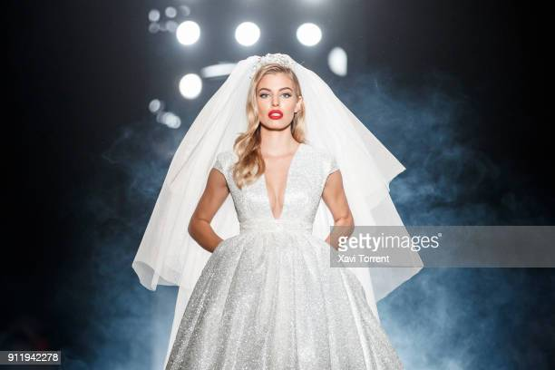 Jessica Goicoechea walks the runway at the Ze Garcia show during the Barcelona 080 Fashion Week on January 29 2018 in Barcelona Spain