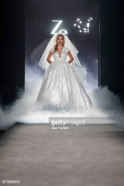 Jessica Goicoechea walks the runway at the Ze Garcia show during the Barcelona 080 Fashion Week on January 29 2018 in Barcelona Spain