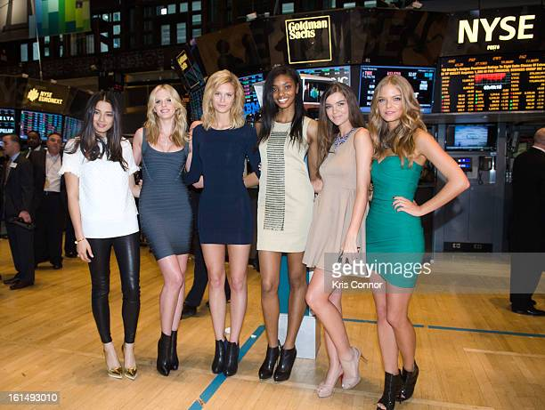 Jessica Gome Anne V Kate Bock Adaora Cobb Natasha Barnard and Jessica Perez pose for a photo during the closing bell at New York Stock Exchange on...